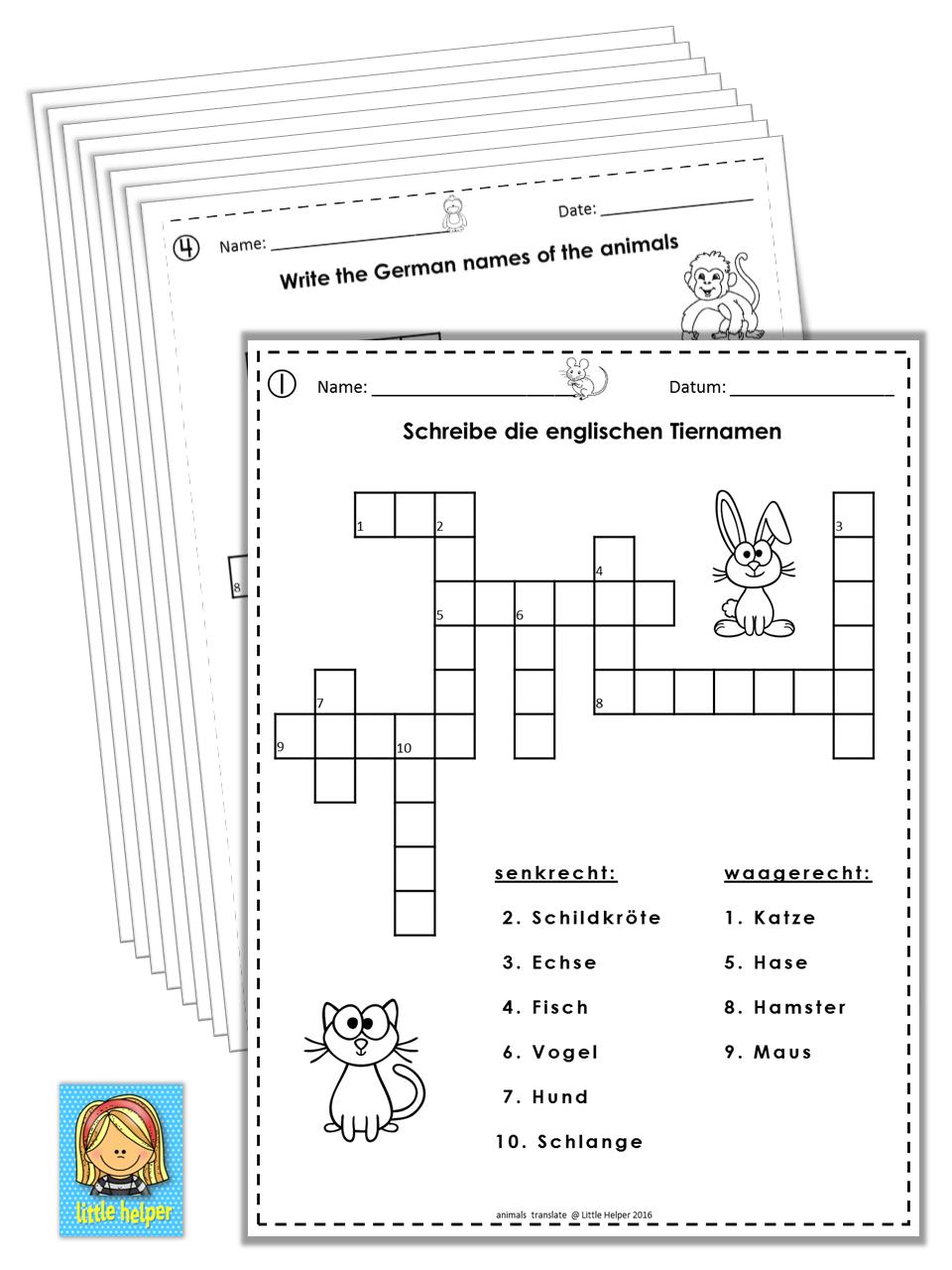 German/english Crossword Puzzles Tiere/animals   German Words - Printable German Crosswords