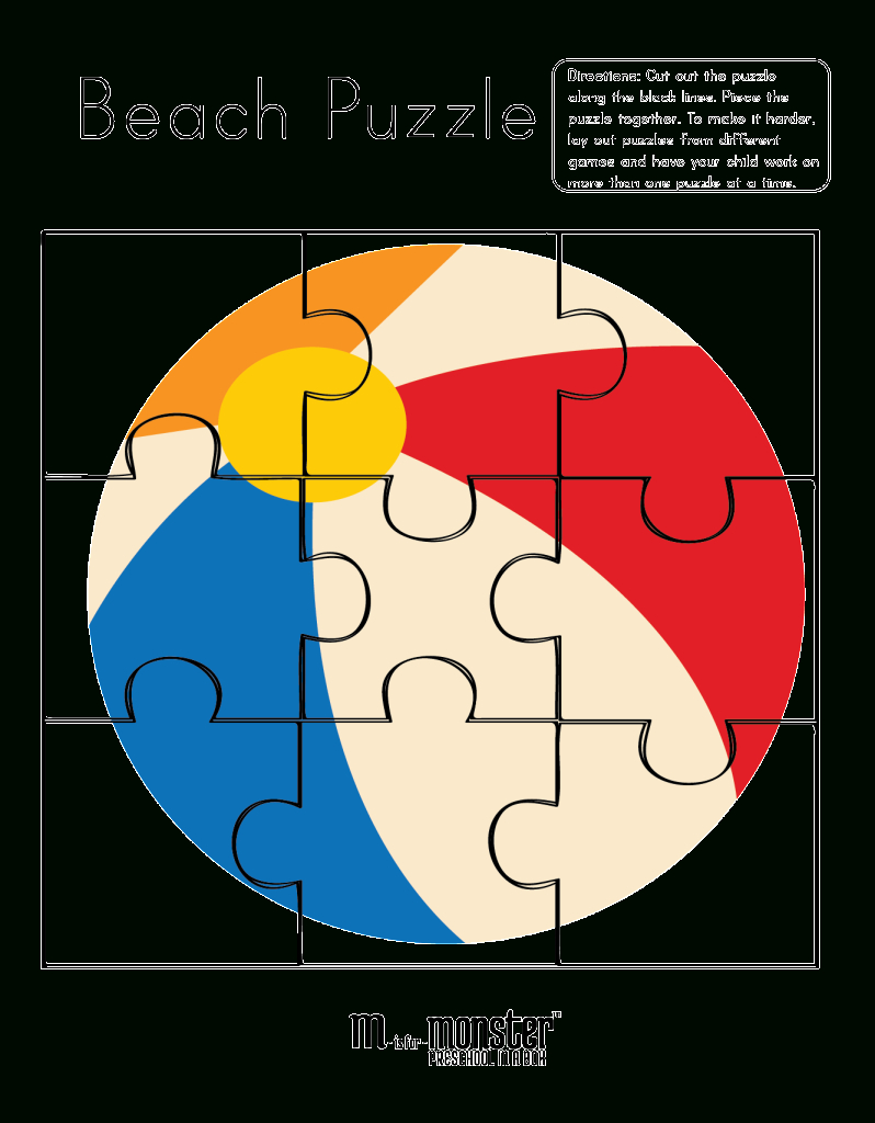 Going To The Beach Puzzles Free Printable - M Is For Monster - Printable Puzzle Toddler