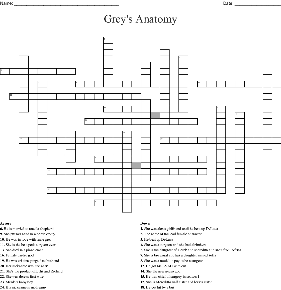 Grey's Anatomy Crossword - Wordmint - Anatomy Crossword Puzzles Printable