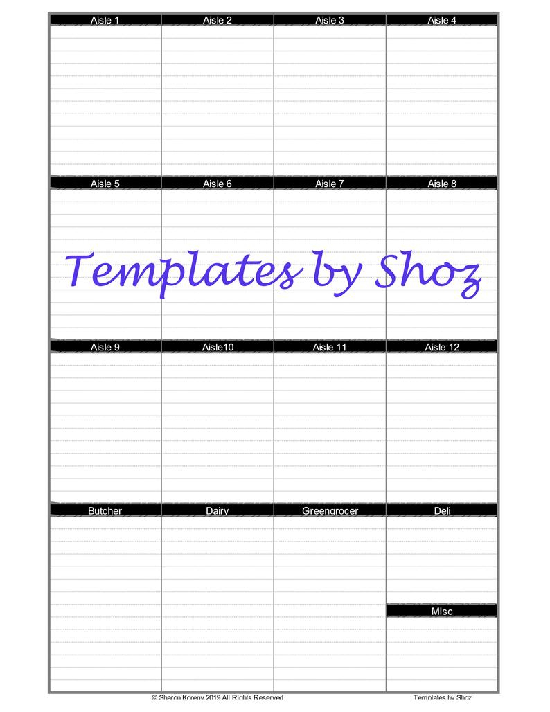 Grocery Shopping List Black Excel File With Expanding Tables | Etsy - Printable Dropdown Puzzles
