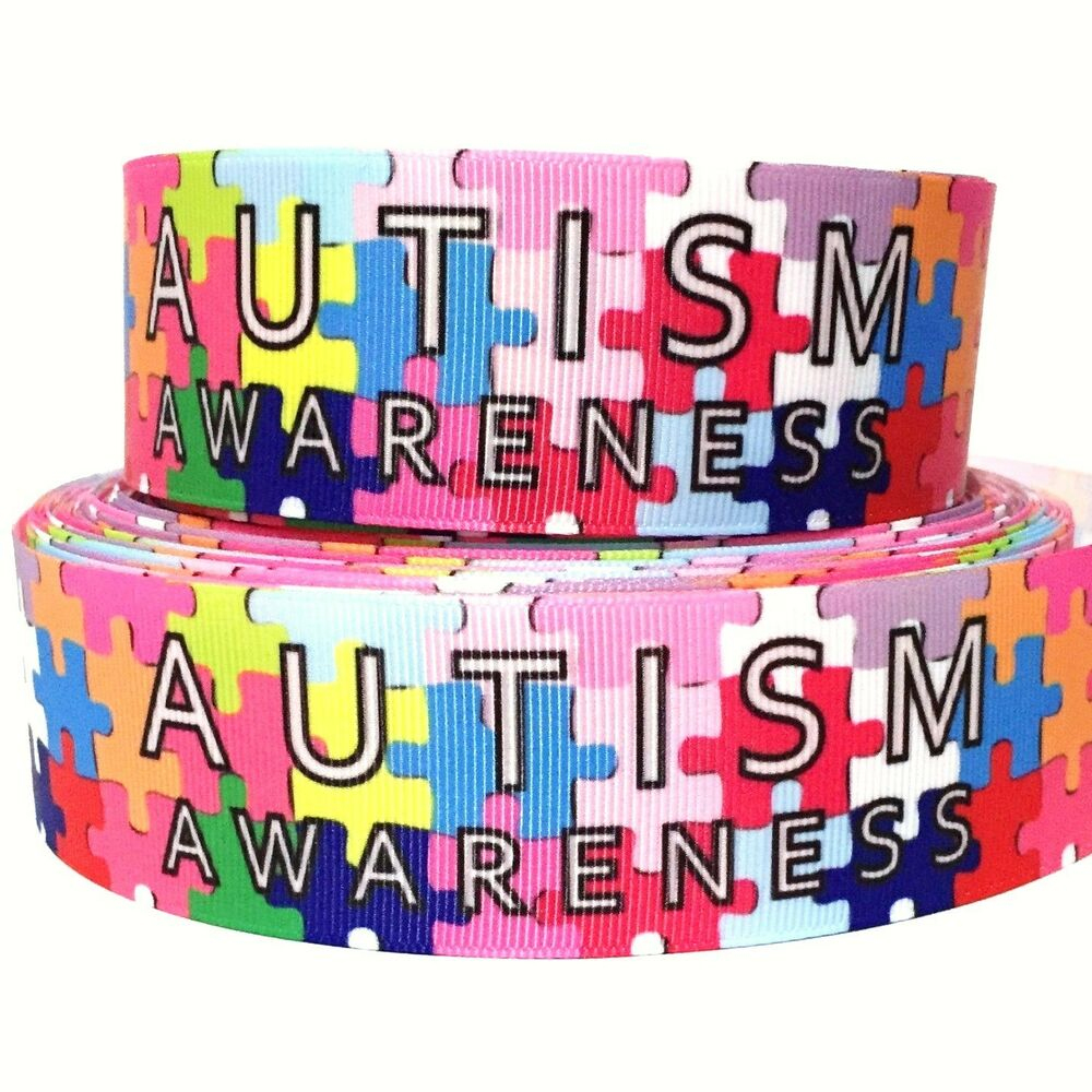 "Grosgrain Ribbon 7/8"" & 1.5"" Autism Awareness Puzzle Au8 Printed - Puzzle Print Ribbon"