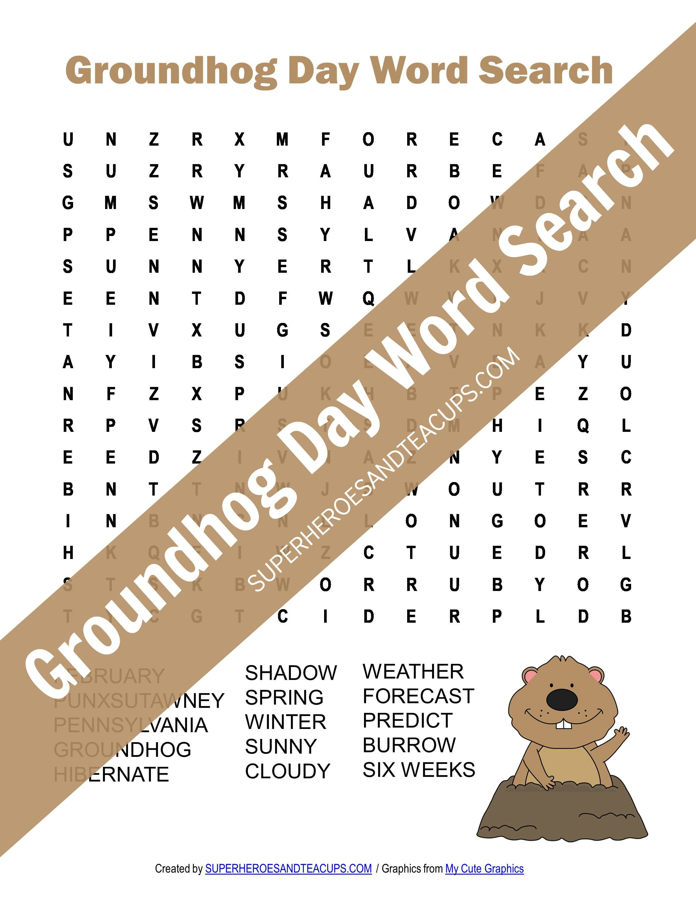 Groundhog Day Word Search Free Printable   Superheroes And Teacups - Groundhog Day Crossword Puzzles Printable