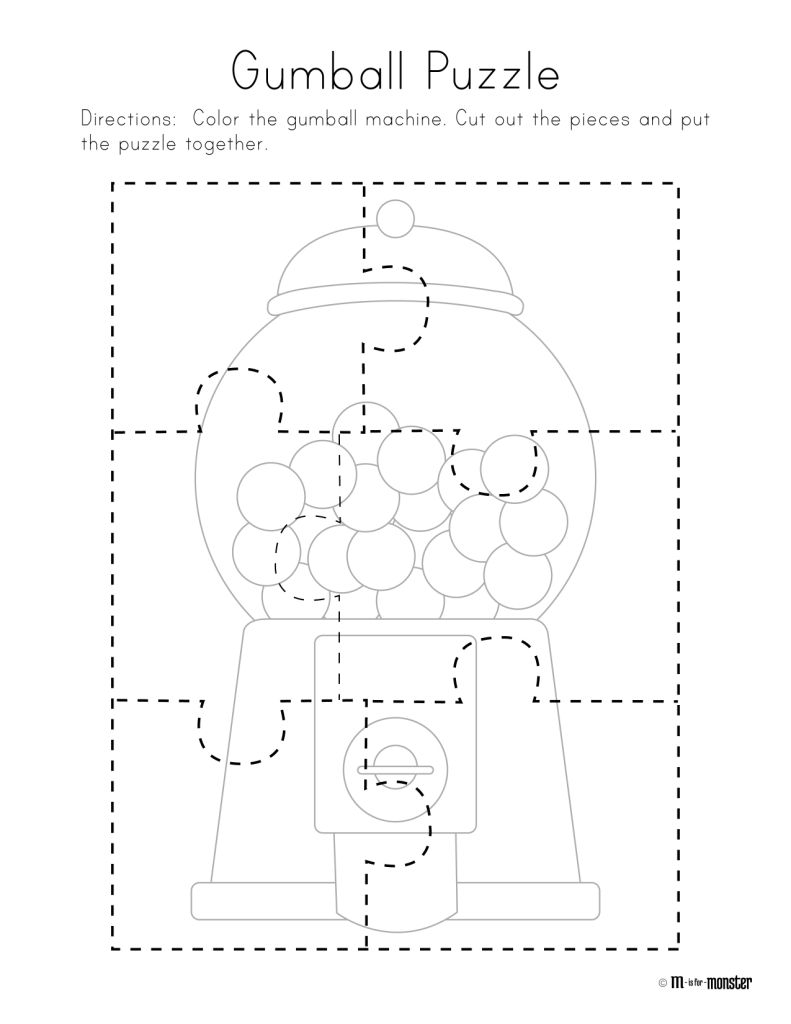 Gumball Puzzle Free Printable | Preschool/kindergarten | Free - Printable Toddler Puzzles