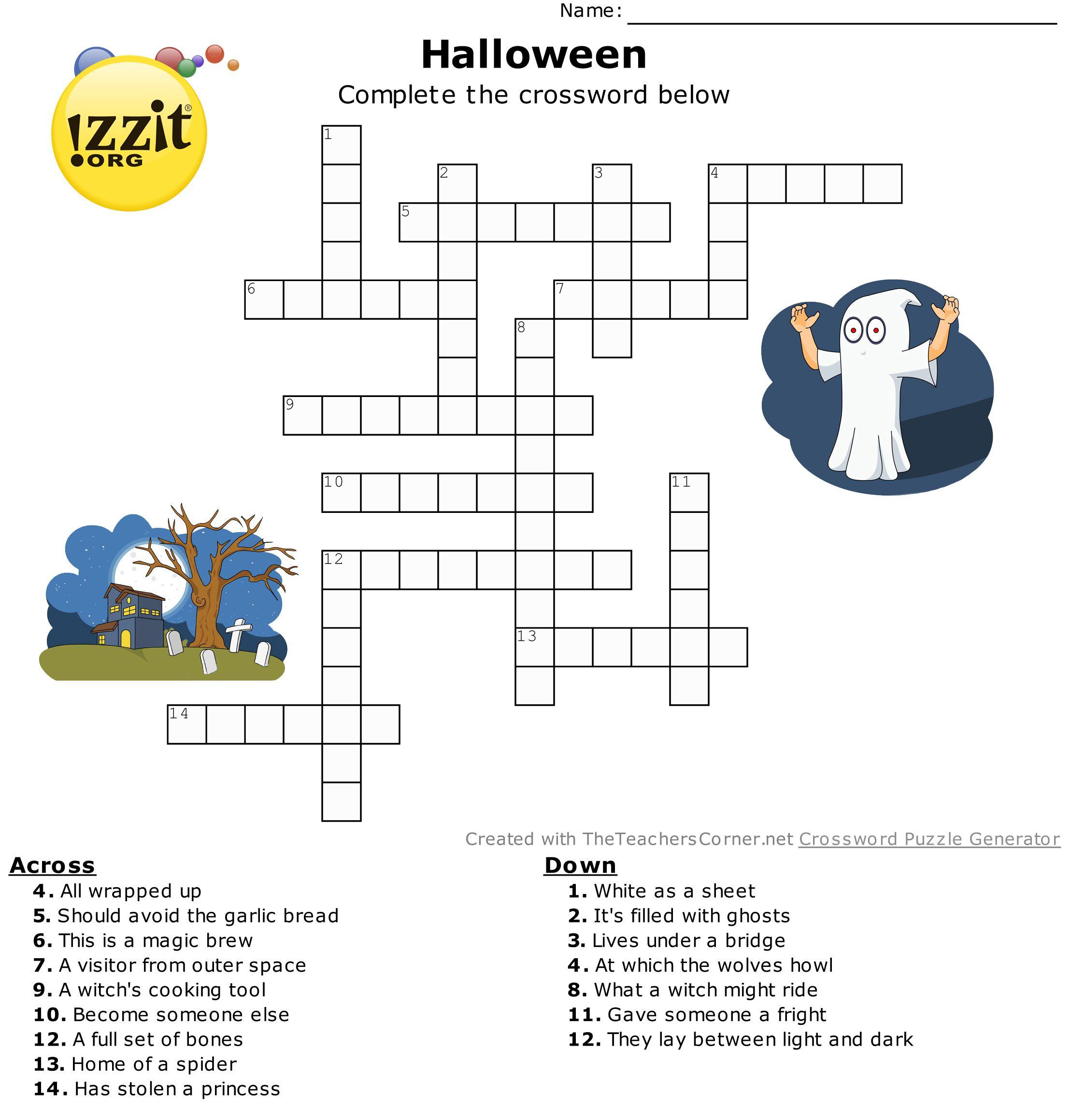 Halloween Crossword - Hard #happyhalloween 💀👻🎃   Classroom - Hard Halloween Crossword Puzzles Printable