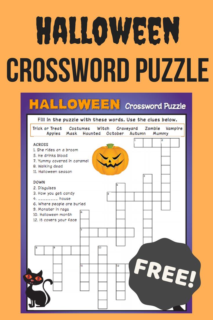 Halloween Crossword Puzzle #3 | Fall Fun | Halloween Crossword - Printable Crossword Puzzles #3