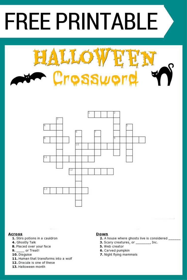 Halloween Crossword Puzzle Free Printable - Halloween Crossword Puzzle Printable
