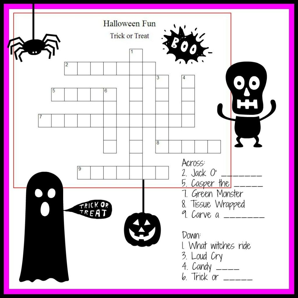 Halloween Crossword & Puzzles For Kids | ~All Hallows Eve - Halloween Crossword Puzzle Printable 3Rd Grade