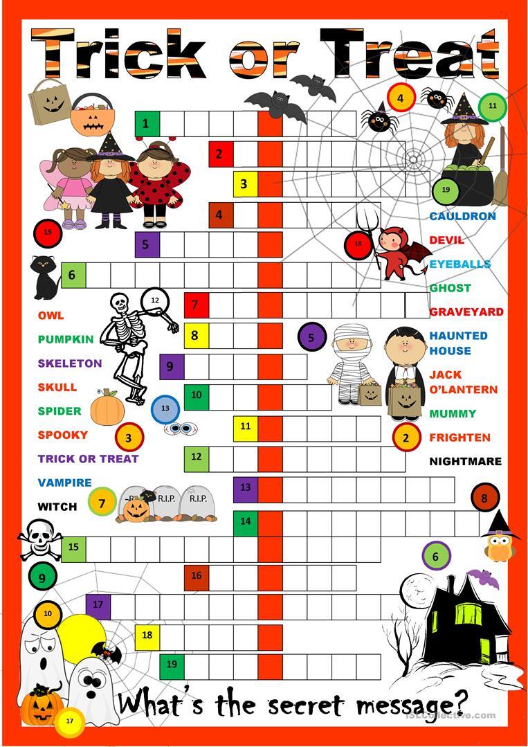 Halloween Crossword Worksheet - Free Esl Printable Worksheets Made - Halloween Crossword Puzzles For Adults Printable
