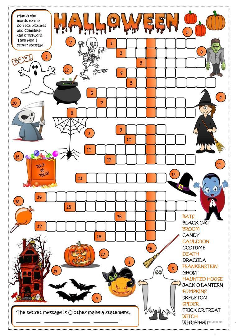 Halloween - Crossword Worksheet - Free Esl Printable Worksheets Made - Printable Halloween Crossword