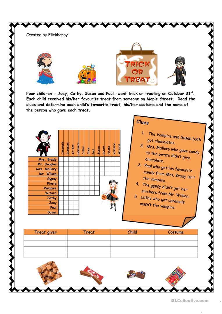 Halloween Logic Puzzle Worksheet - Free Esl Printable Worksheets - Printable Halloween Puzzle Pages