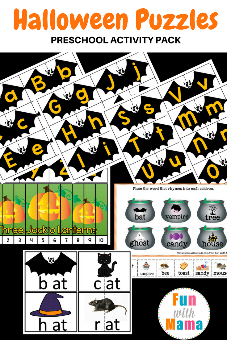 Halloween Puzzles Preschool Activity Pack - Fun With Mama - Printable Logo Puzzle