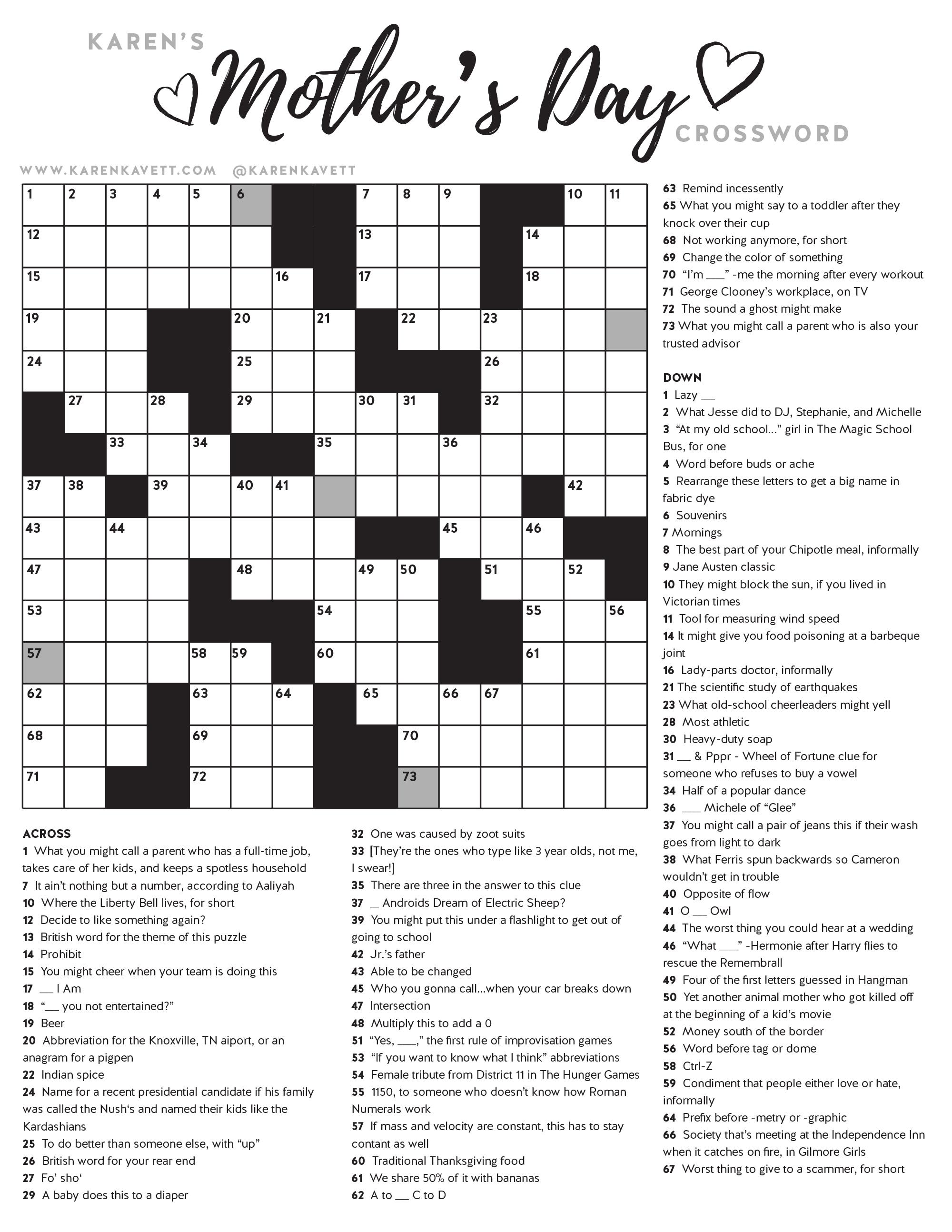 Happy Mother's Day Crossword Puzzle - Karen Kavett - Printable Crossword Puzzles July 2017