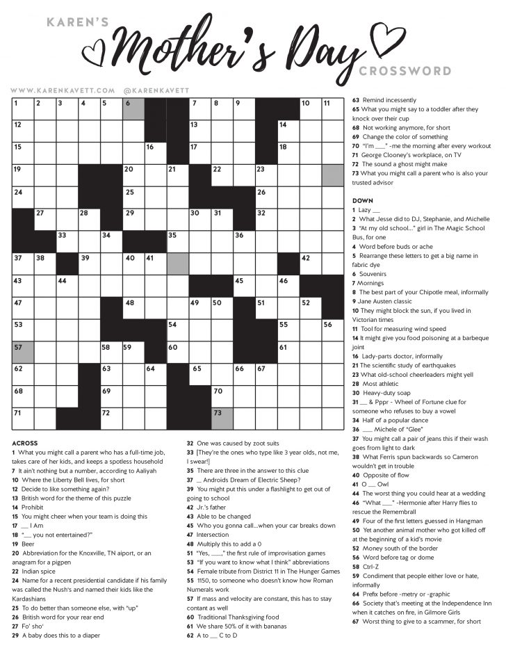 Printable Crossword Puzzles May 2019