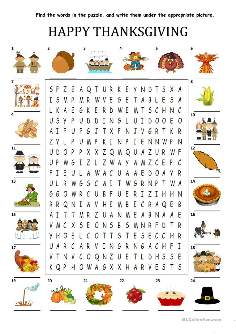 Happy Thanksgiving - Wordsearch Puzzle Worksheet - Free Esl - Printable Thanksgiving Puzzle