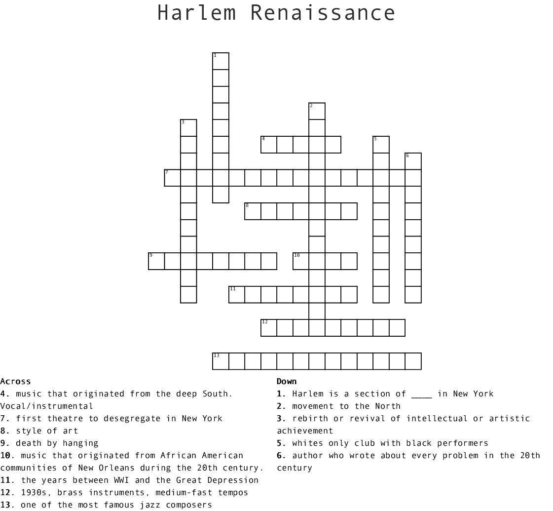 Harlem Renaissance Crossword - Wordmint - Renaissance Crossword Puzzle Printable