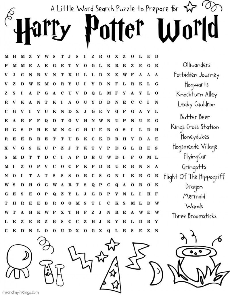 Harrypotter Free Word Search Puzzle And Planning Ideas For Universal - Free Printable Universal Crossword Puzzle