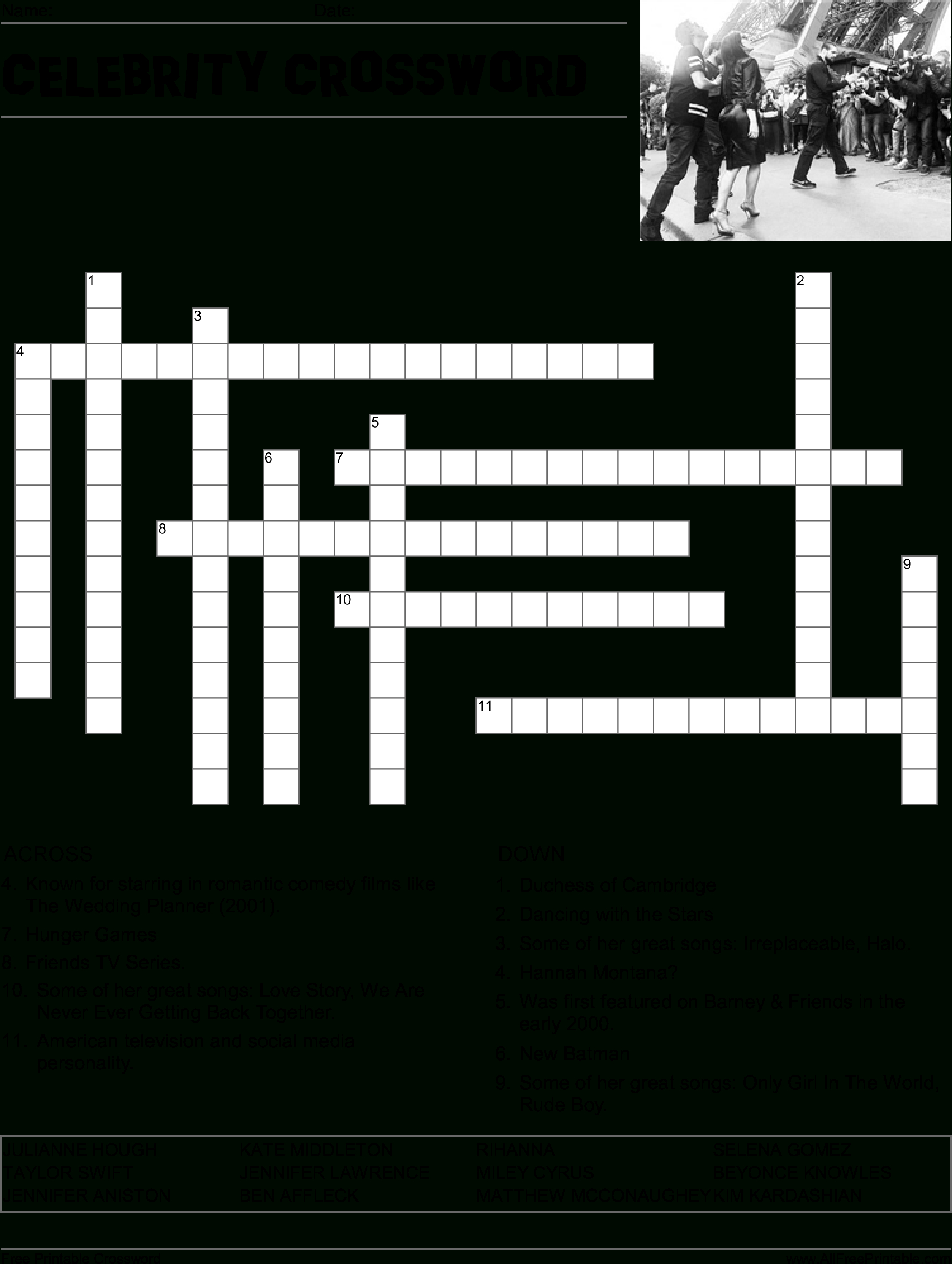 Hd Celebrity Crossword Puzzle Main Image Download Template - Word - Printable Military Crossword Puzzles