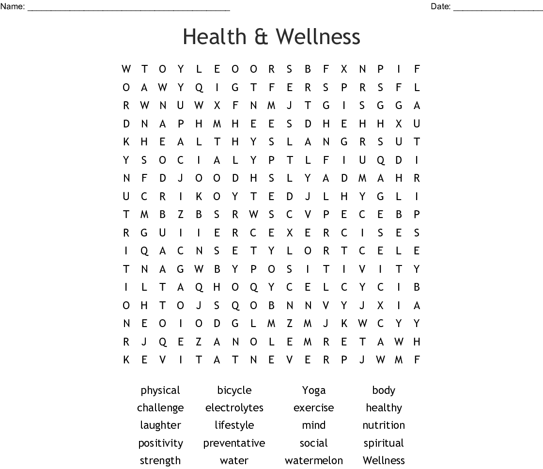 Health & Wellness Word Search - Wordmint - Printable Wellness Crossword Puzzles