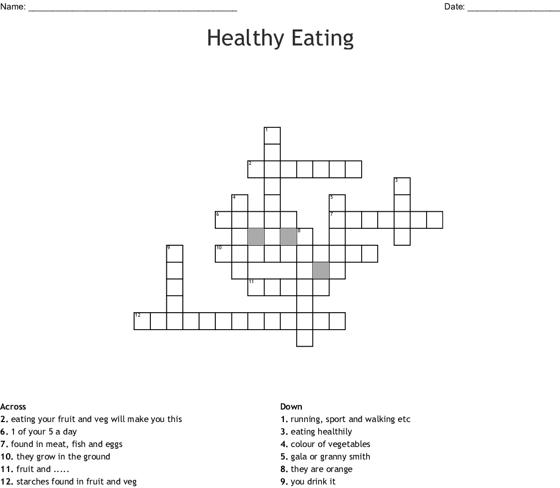 Healthy Eating Crossword - Wordmint - Printable Crossword Puzzles About Food