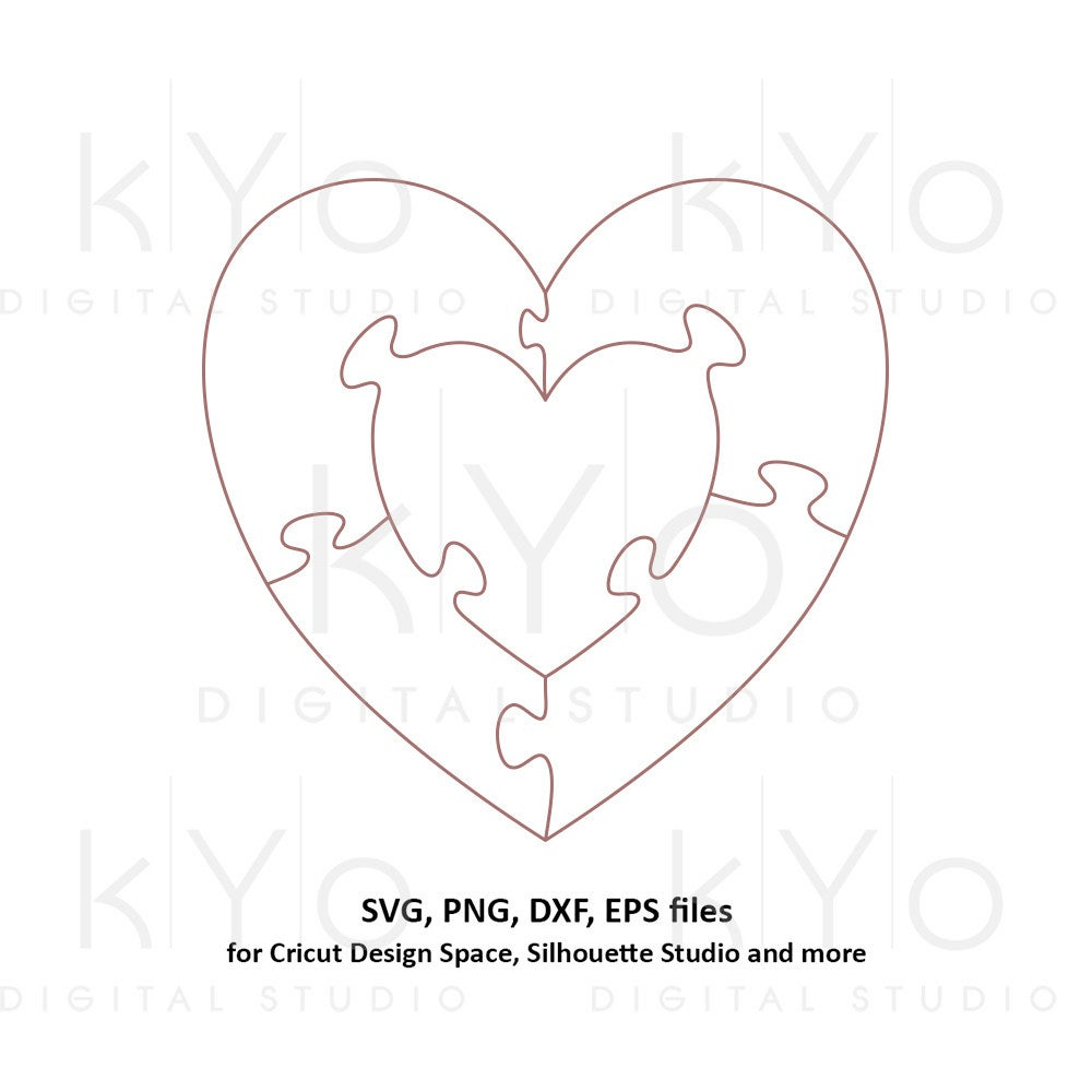 Heart In Heart Jigsaw Puzzle Templates Ai Eps Dxf Svg Png | Etsy - Printable Puzzle Heart