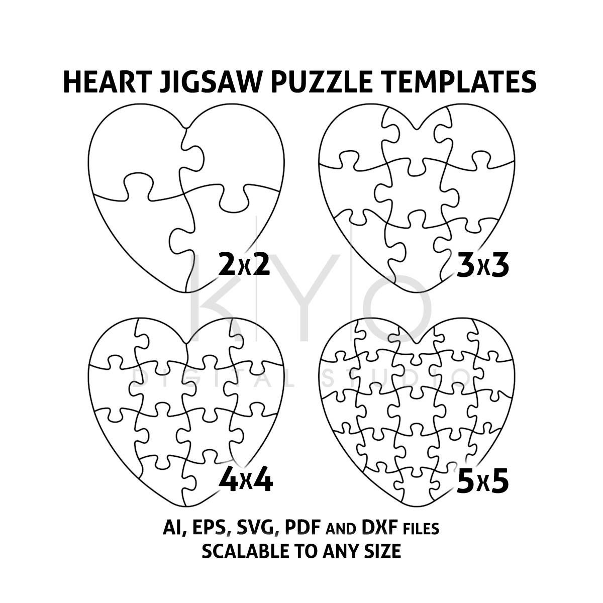 Heart Jigsaw Puzzle Templates Ai Eps Svg Pdf Dxf Files, Heart Shape - Free Printable Heart Puzzle Template