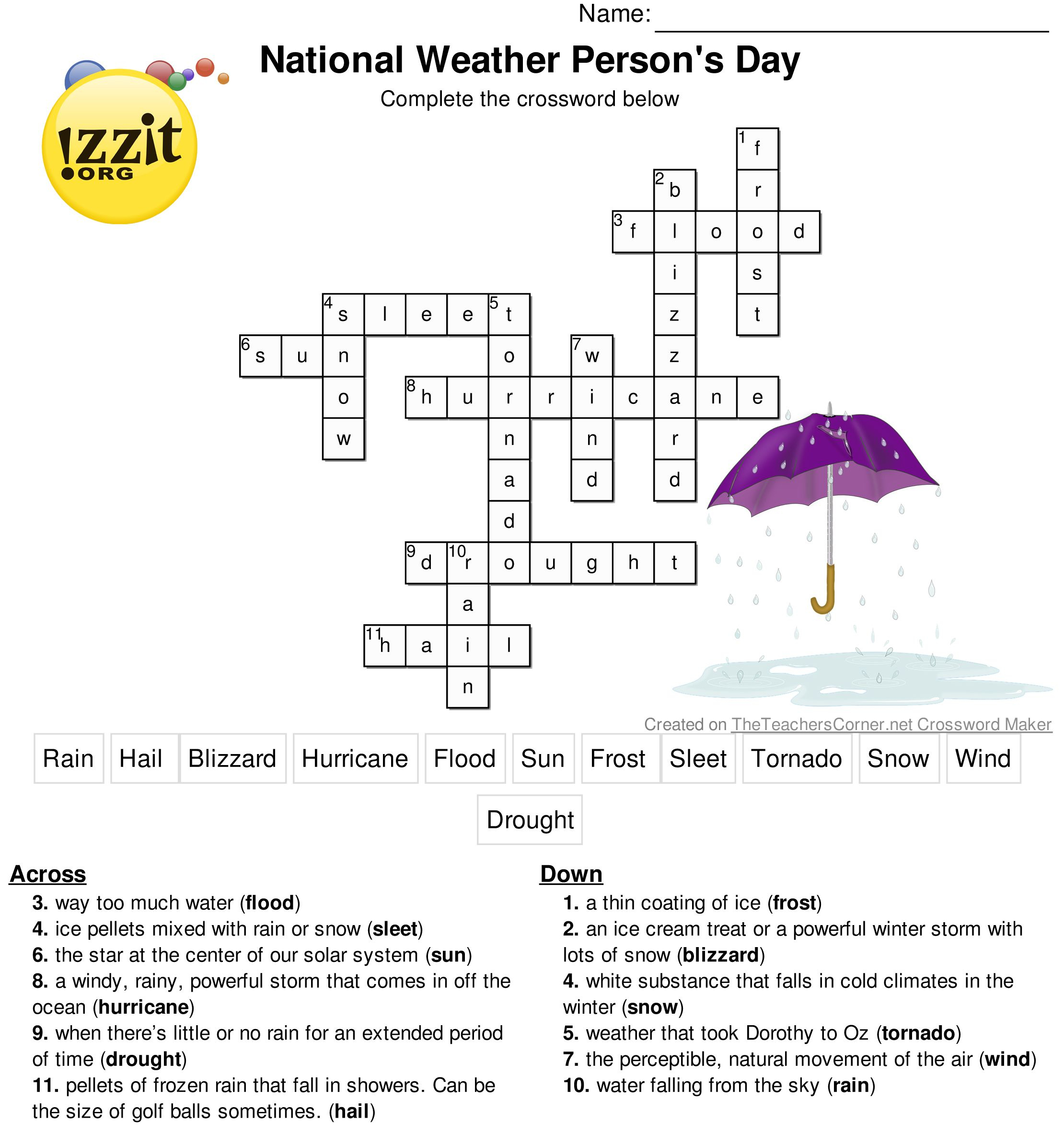 Here Is The Answer Key For The Printable Crossword Puzzle For - Printable Crossword And Answers