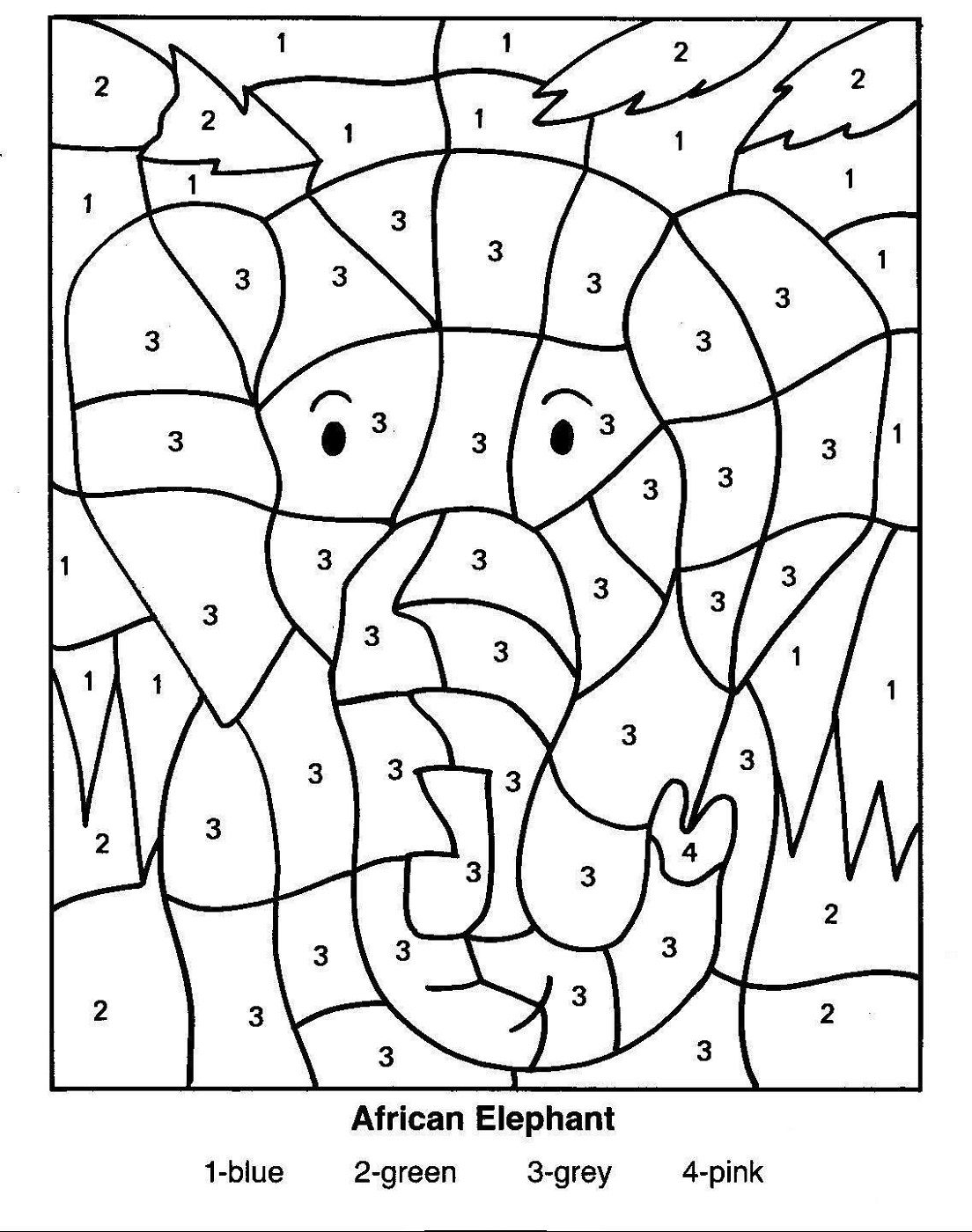 Hidden Picture Colornumber   Educative Puzzle For Kids - Printable Elephant Puzzle