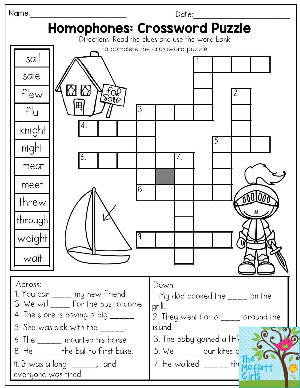 Homophones: Crossword Puzzle- Read The Clues And Use The Word Bank - Printable Crosswords For 1St Grade