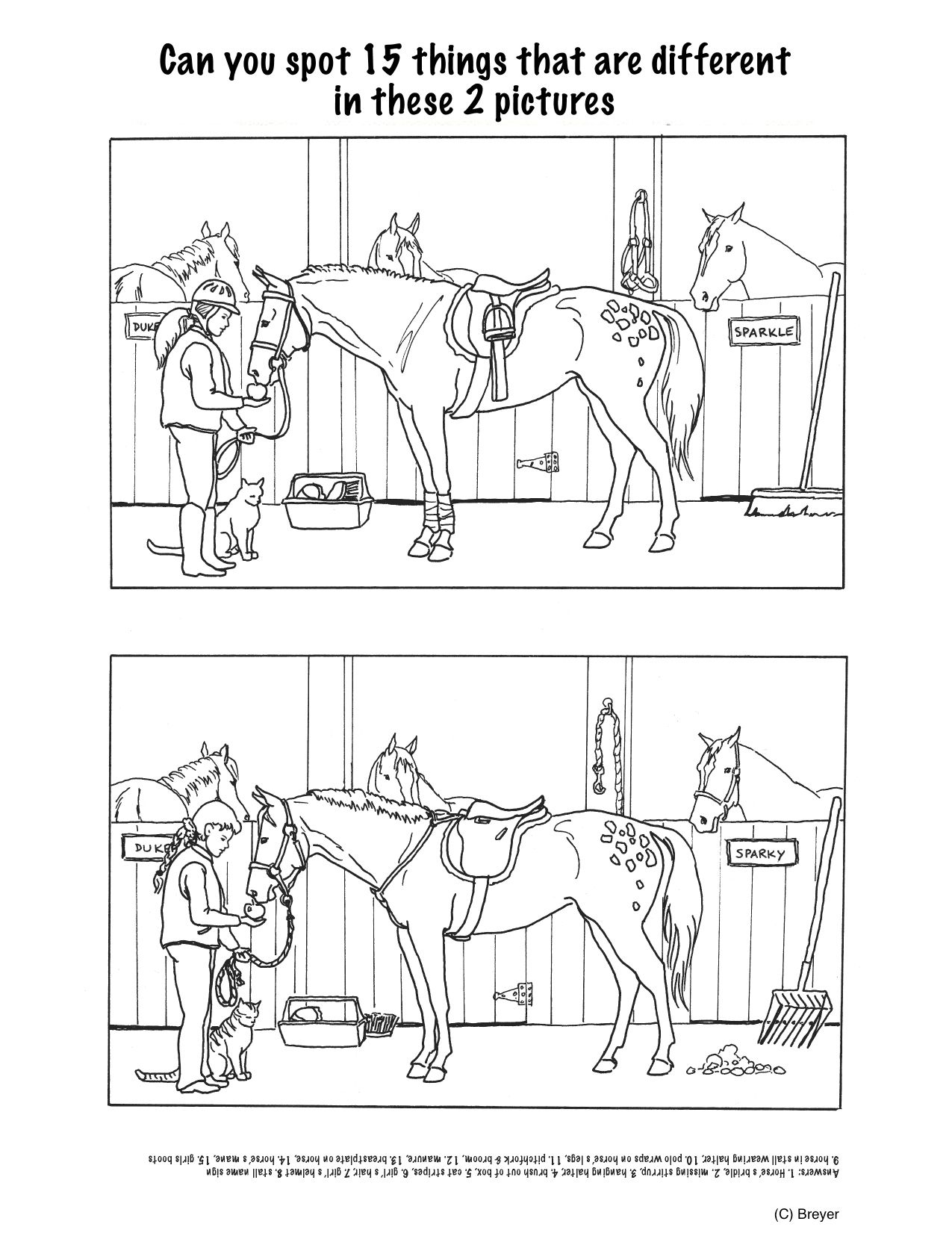 Horse Projects For Kids | Spot The Differences - Stable | Mind's Eye - Printable Horse Puzzle