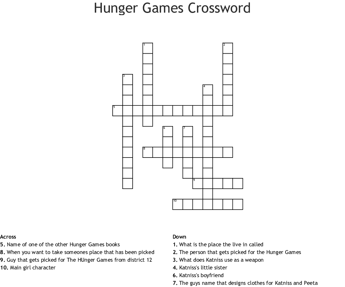 Hunger Games Crossword - Wordmint - Hunger Games Crossword Puzzle Printable