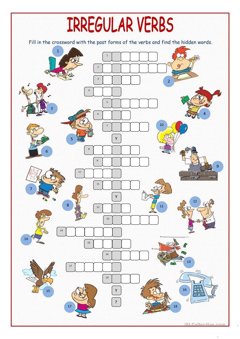 Irregular Verbs Crossword Puzzle Worksheet - Free Esl Printable - Worksheet Verb Puzzle