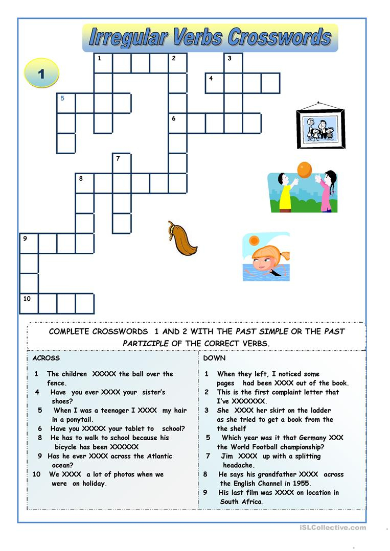 Irregular Verbs - Crossword Puzzles Worksheet - Free Esl Printable - Crossword Puzzles Printable On Tenses