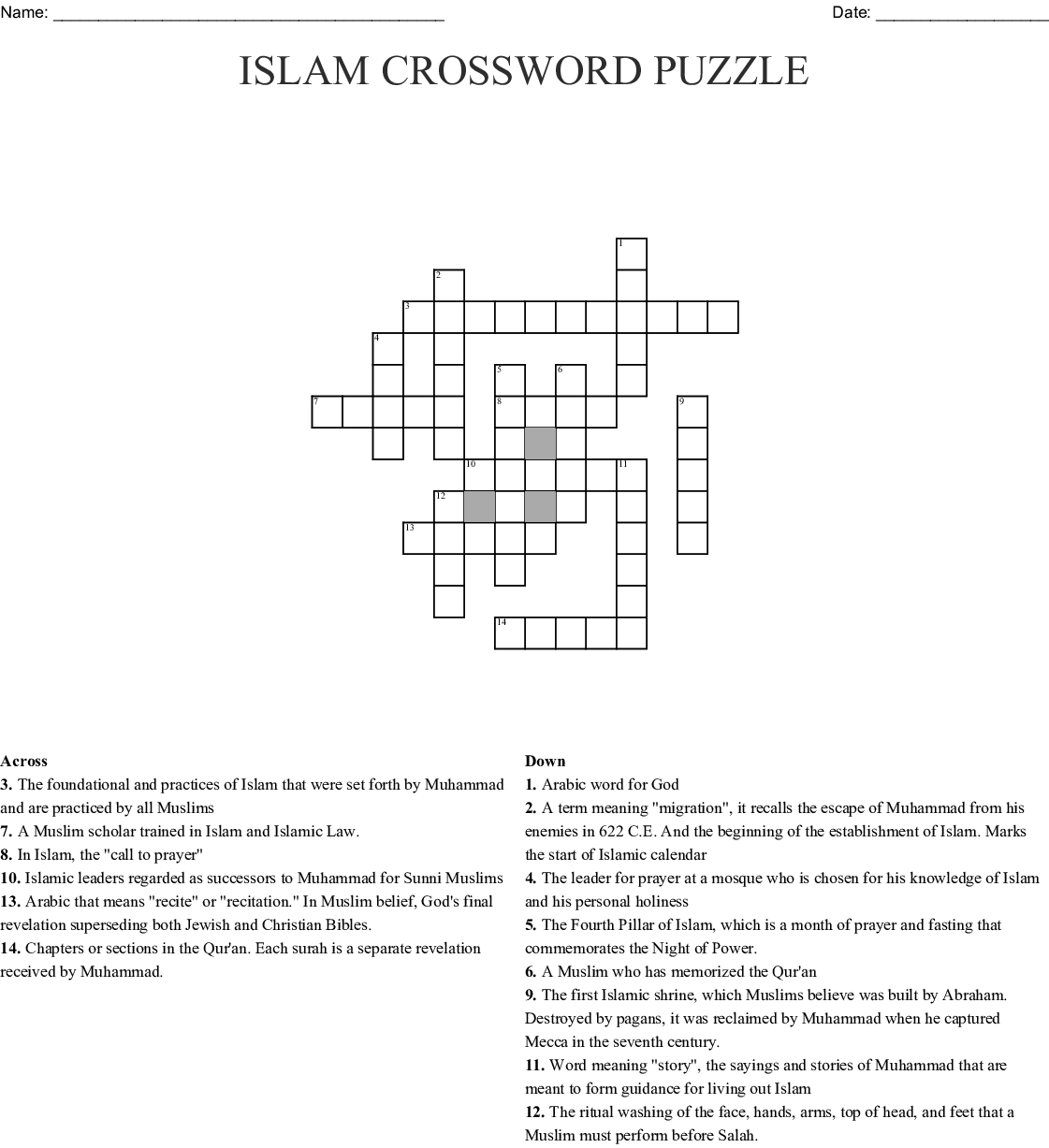 Islam Crossword Puzzle Crossword - Wordmint - Islamic Crossword Puzzles Printable