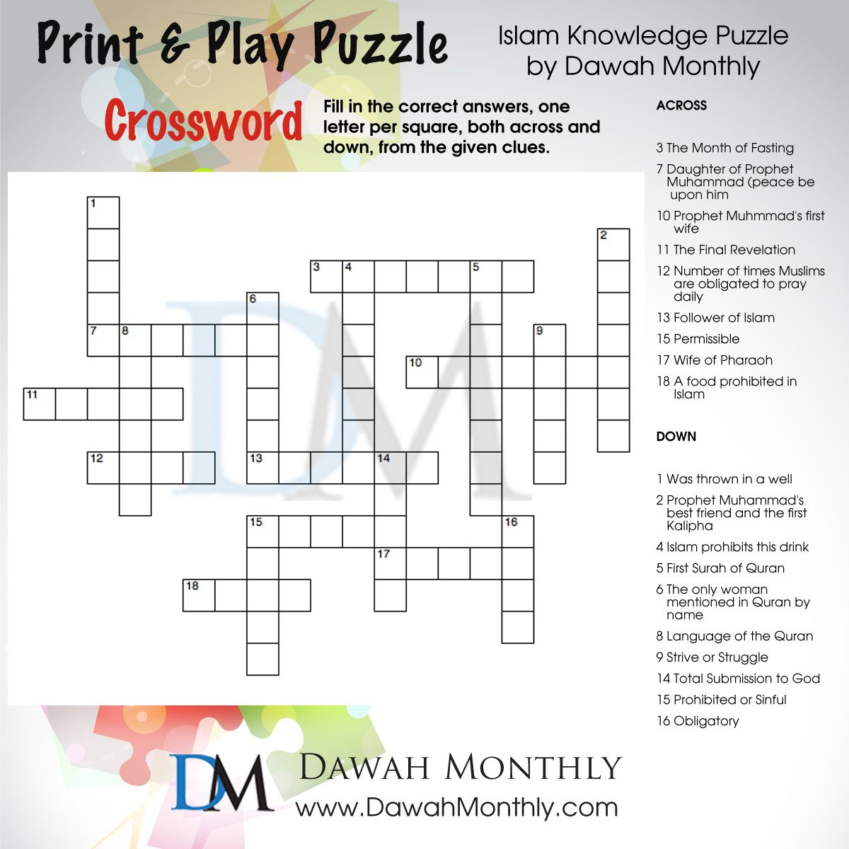 Islam #crossword #puzzle | Puzzles | Diy Eid Cards, Islamic Posters - Islamic Crossword Puzzles Printable