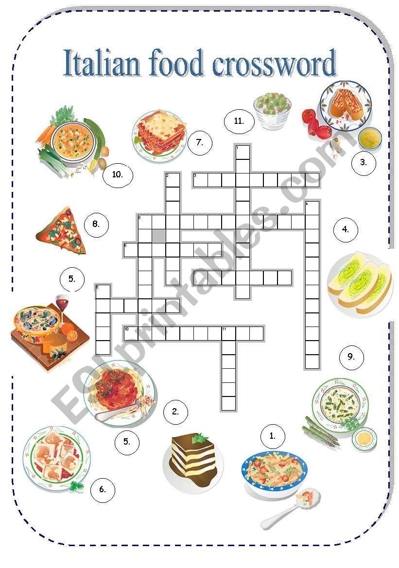 Italian Food Crossword - Esl Worksheetborna - Printable Italian Crossword Puzzles