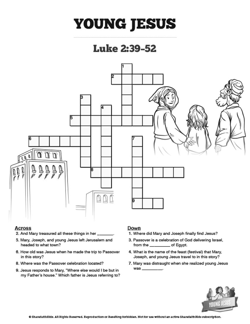 Jesus As A Child Sunday School Crossword: The Jesus As A Child - Printable Joseph Crossword