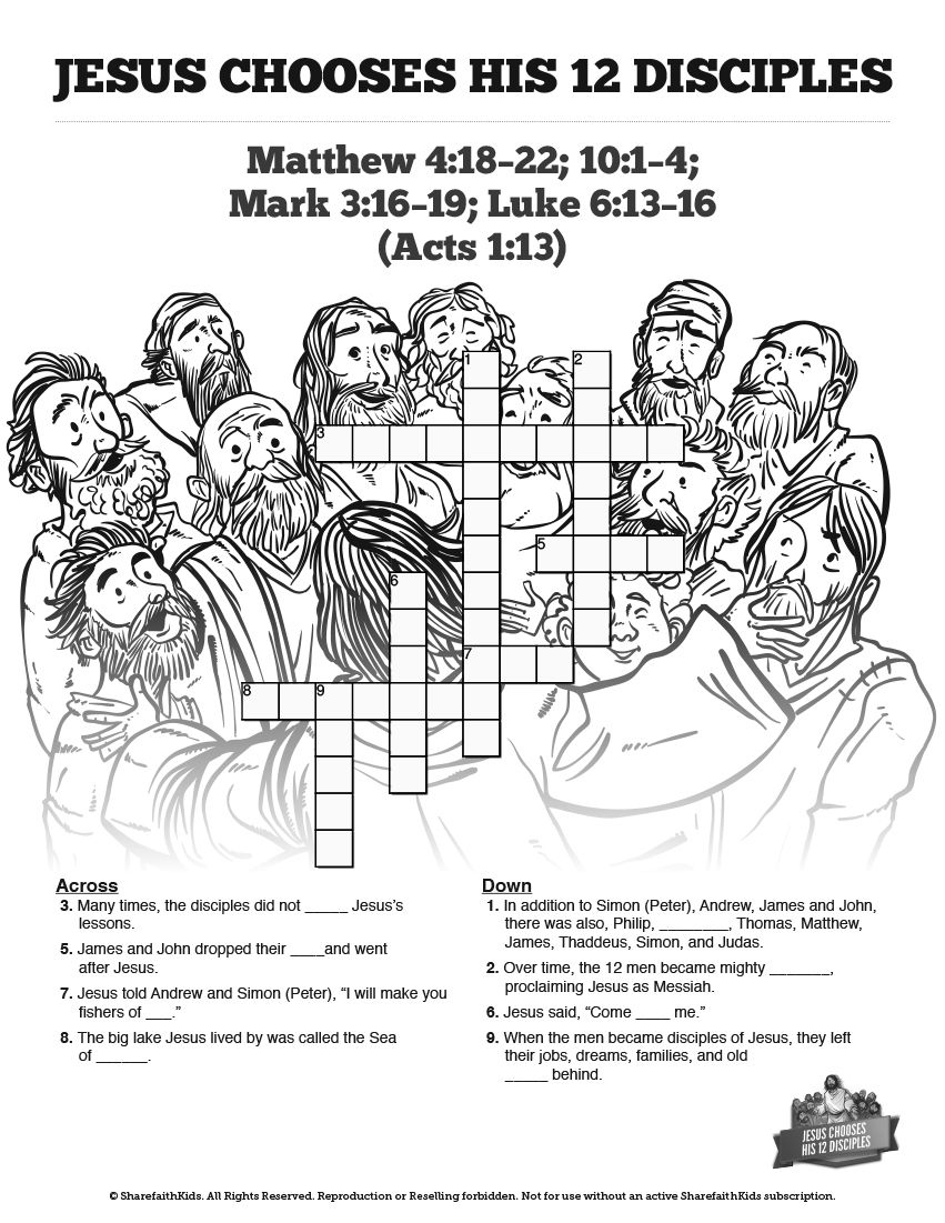 Jesus Chooses His 12 Disciples Sunday School Crossword Puzzles: The - Printable Jesus Puzzle