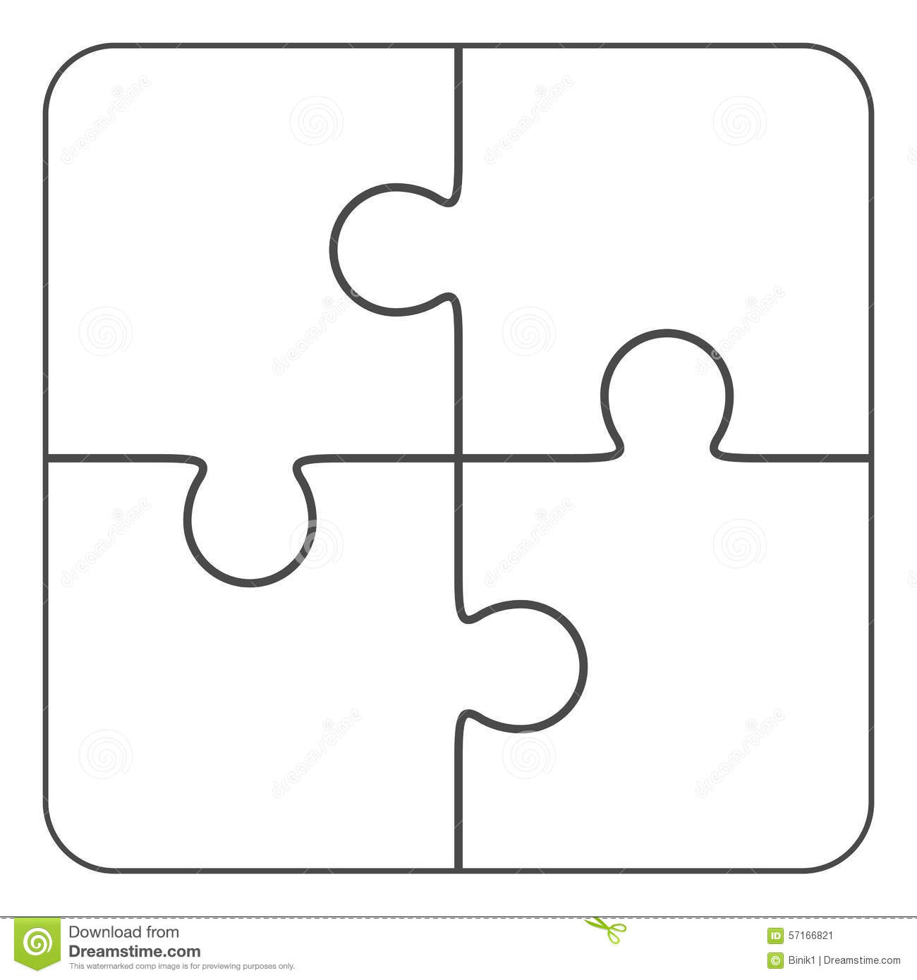 Jigsaw Puzzle Blank 2X2, Four Pieces Stock Illustration - Printable 4 Piece Puzzle Template
