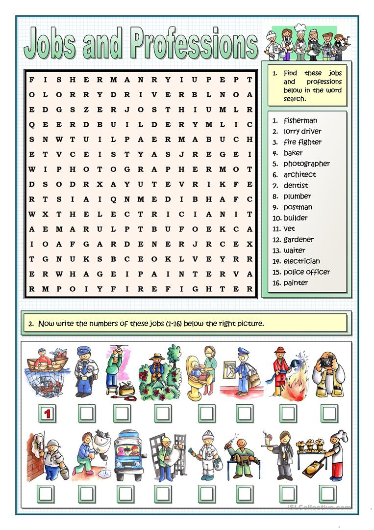 Jobs And Professions Puzzles Worksheet - Free Esl Printable - Worksheet English Puzzle