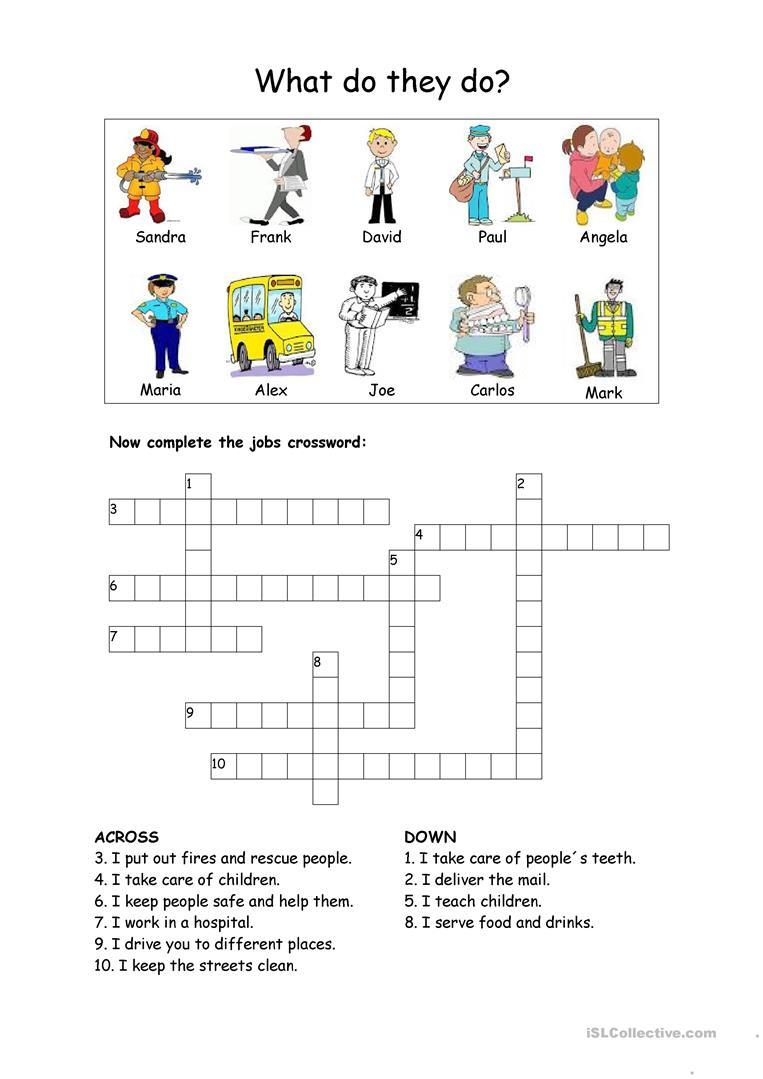 Jobs Crossword Worksheet - Free Esl Printable Worksheets Made - Printable Crossword Puzzles Job