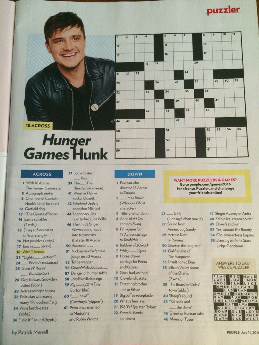 Josh Hutcherson Crossword In People July 11Th, 2016 Issue | Cross - Printable People Magazine Crossword Puzzles