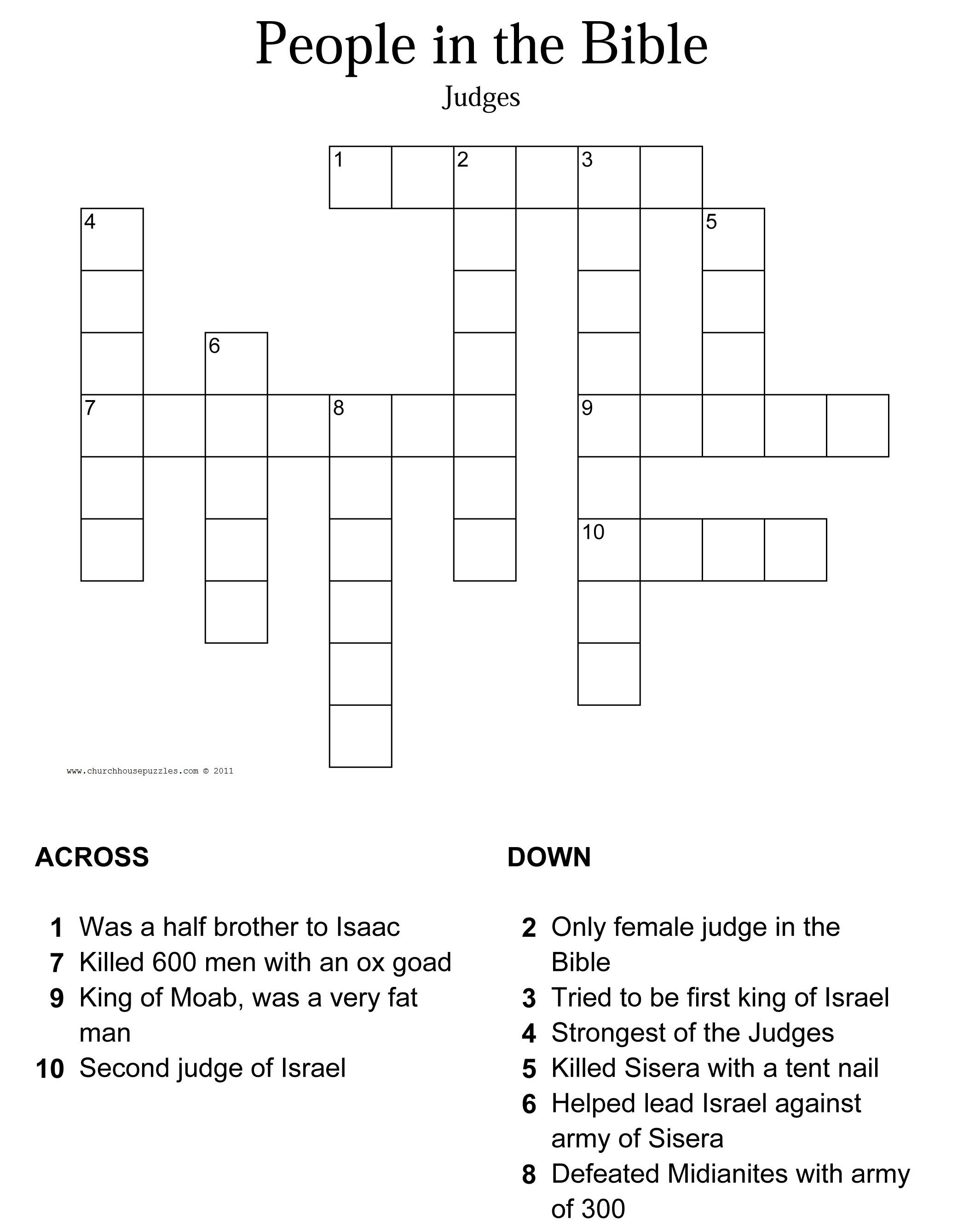 Judges Crossword Puzzle - Printable Bible Crossword