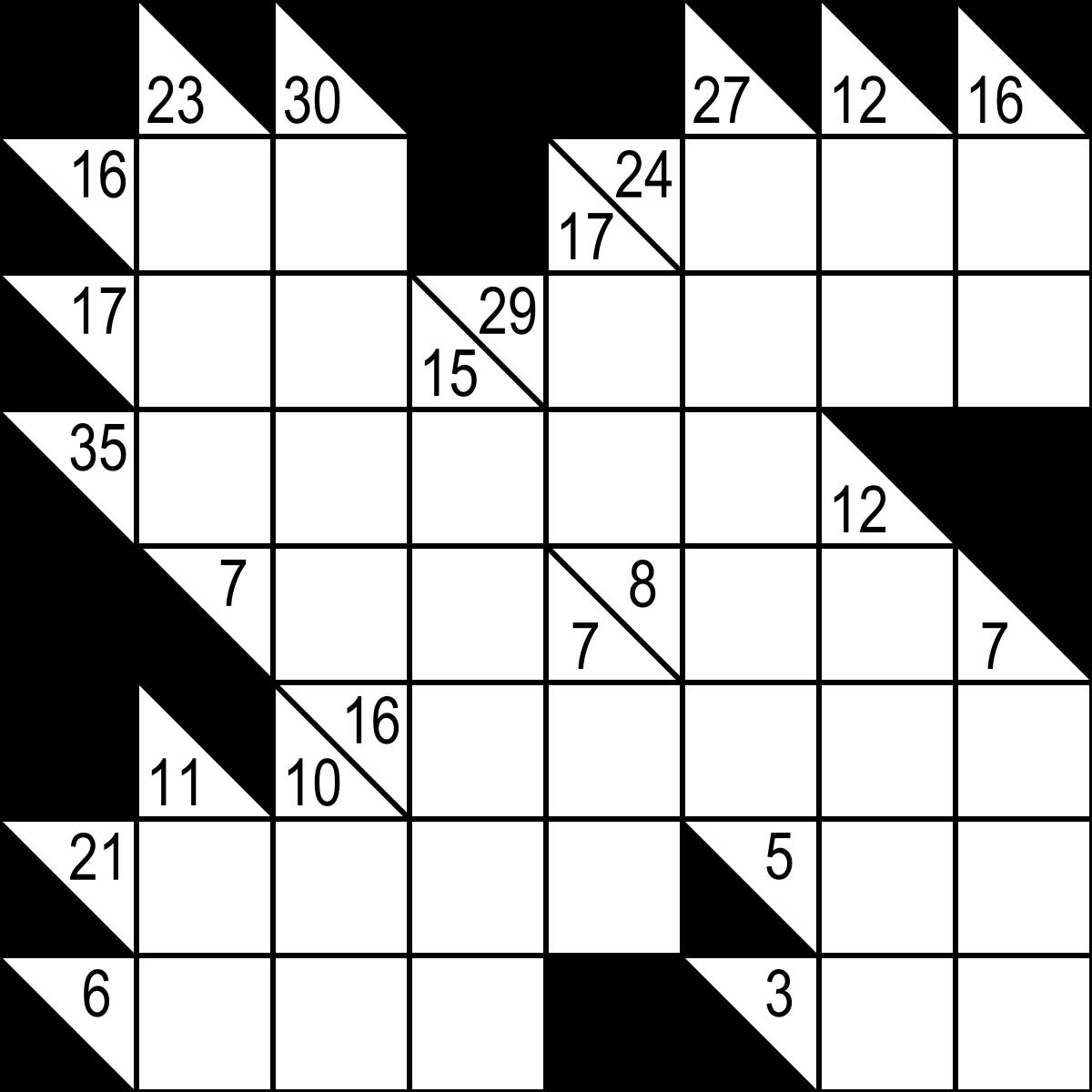 Kakuro - Wikipedia - Printable Puzzles Kakuro