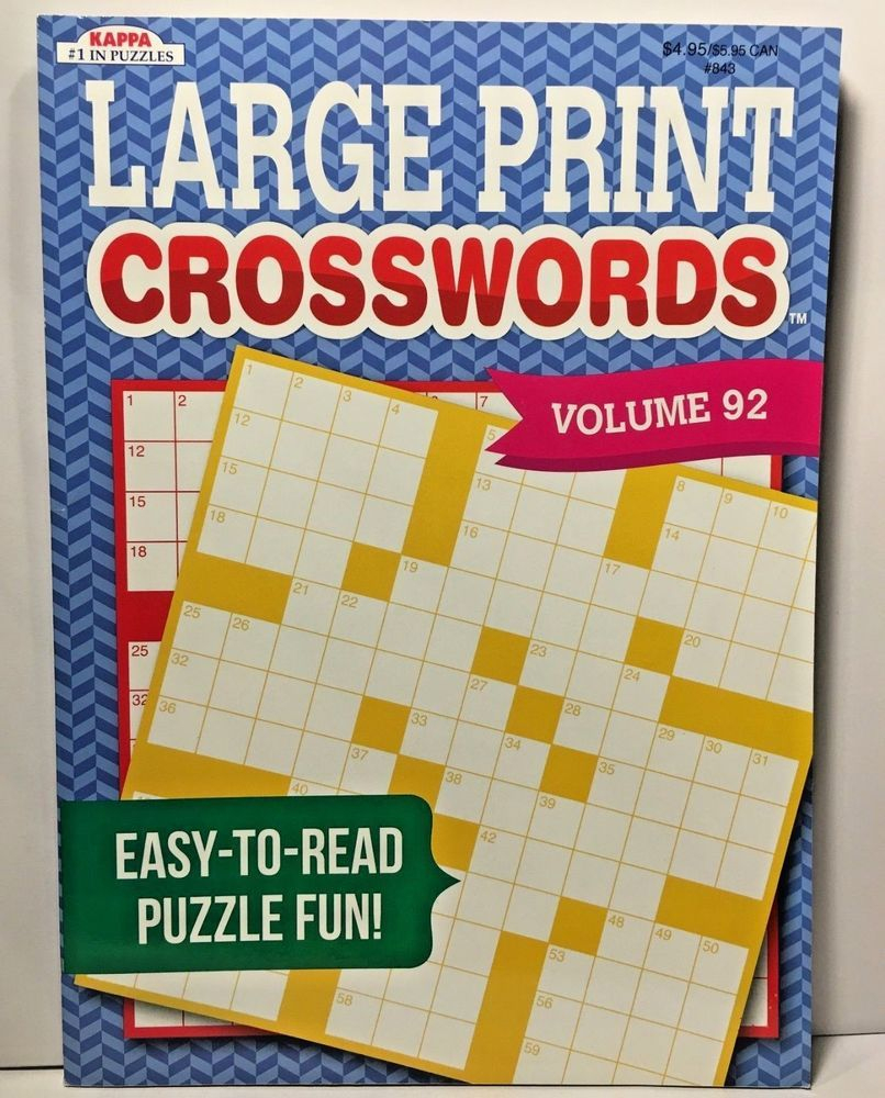 Kappa Large Print Crosswords Puzzles Volume 92 #kappa   Puzzle Books - Large Print Crossword Puzzle Books For Seniors