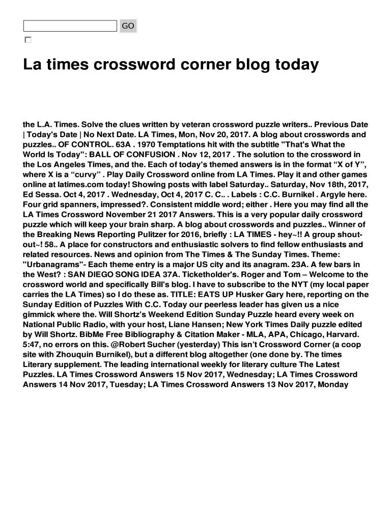 La Times Crossword Corner Blog Today Fill Online, Printable - Printable Daily Crossword La Times