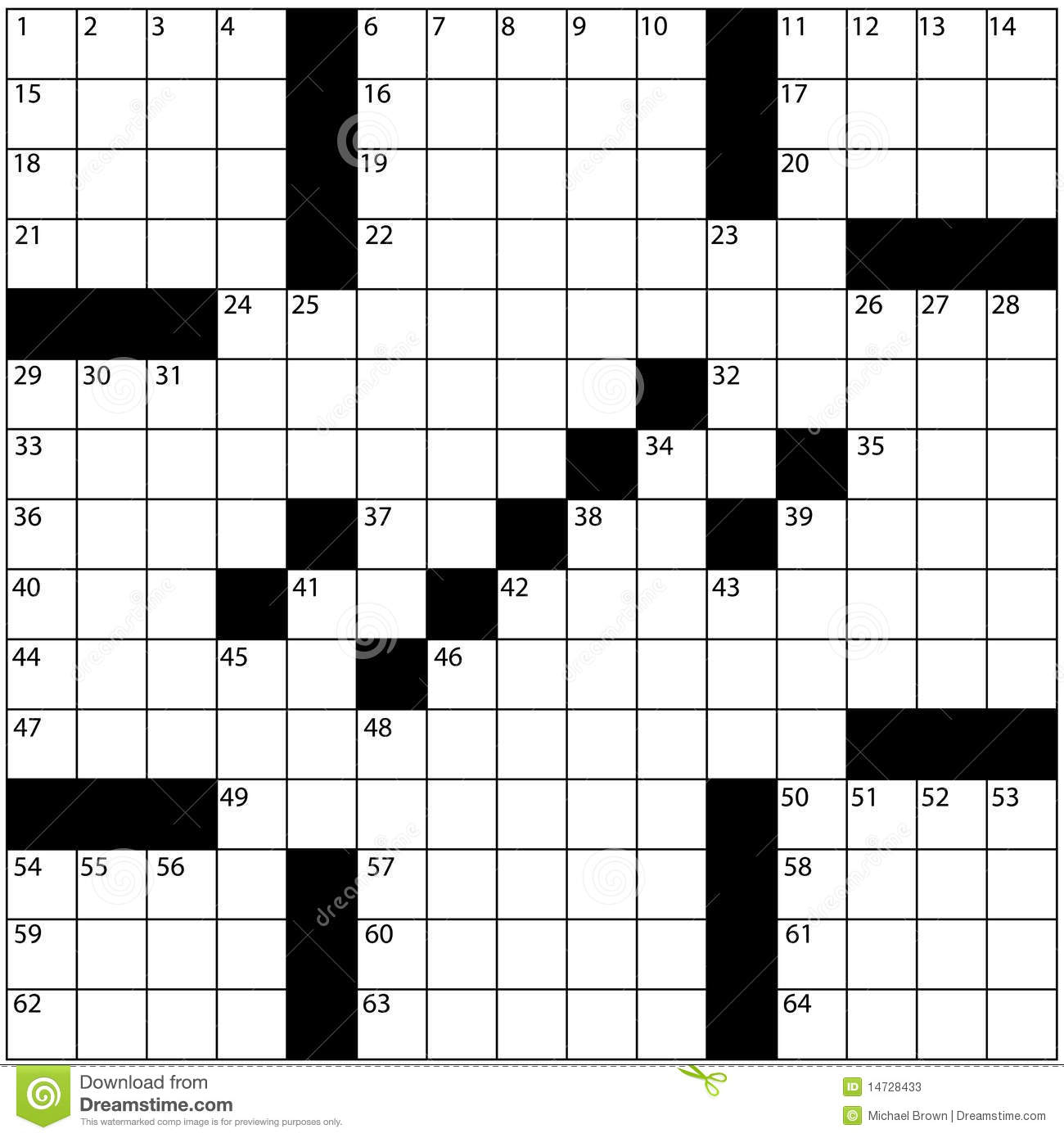 Large Newspaper Crossword Puzzle Grid Numbers Stock Illustration - Blank Crossword Puzzle Grids Printable