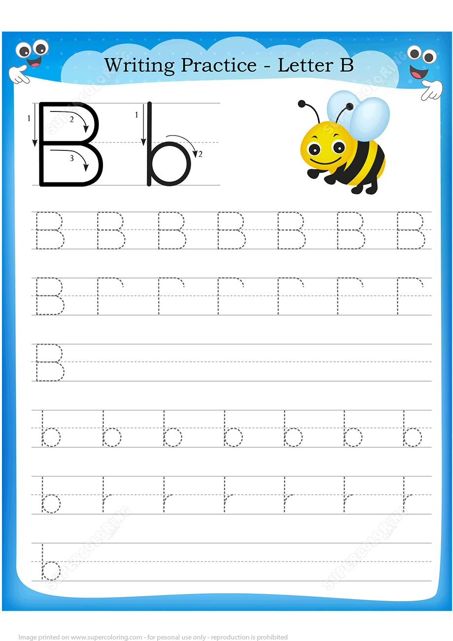 Letter B Is For Bee Handwriting Practice Worksheet | Free Printable - Letter B Puzzle Printable