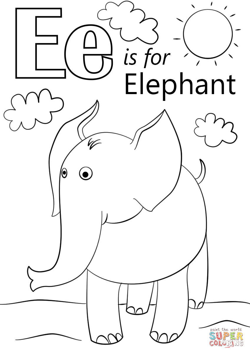 Letter E Is For Elephant Coloring Page   Free Printable Coloring Pages - Printable Elephant Puzzle