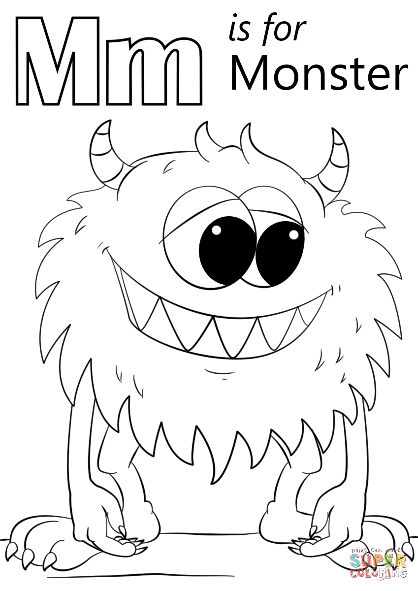 Letter M Is For Monster Coloring Page | Free Printable Coloring Pages - Printable Monster Puzzle