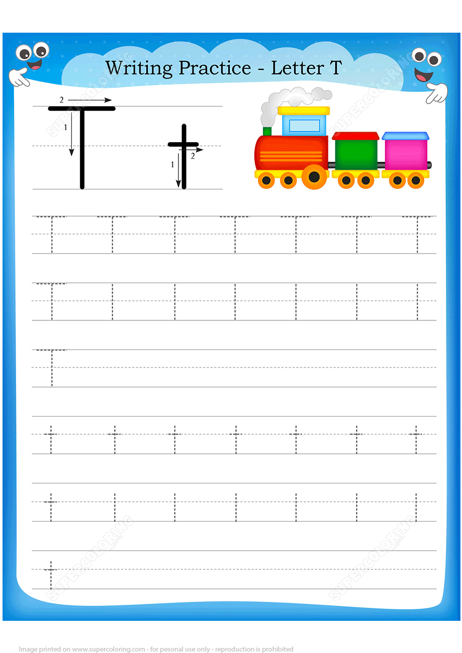 Letter T Is For Train Handwriting Practice Worksheet   Free - Printable Train Puzzle